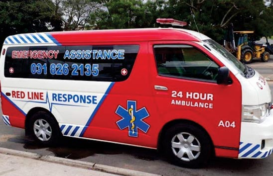 Reflective vinyl on ambulance vehicle